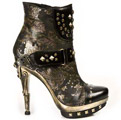 New Rock PUNK003-C2 Bronzed Punk Ankle Boots