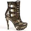 New Rock PUNK007-C2 Bronzed Buckle Punk Ankle Boots