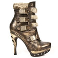 New Rock PUNK021-C1 Punk Faux-Fur Trim Ankle Buckle Boots