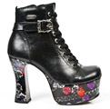 New Rock DK001-S11 Dark Metal Pin-Up Ankle Boots