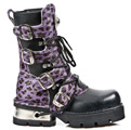 New Rock 373-C48 Purple Leopard Cowhide Planing M3 Calf Boots